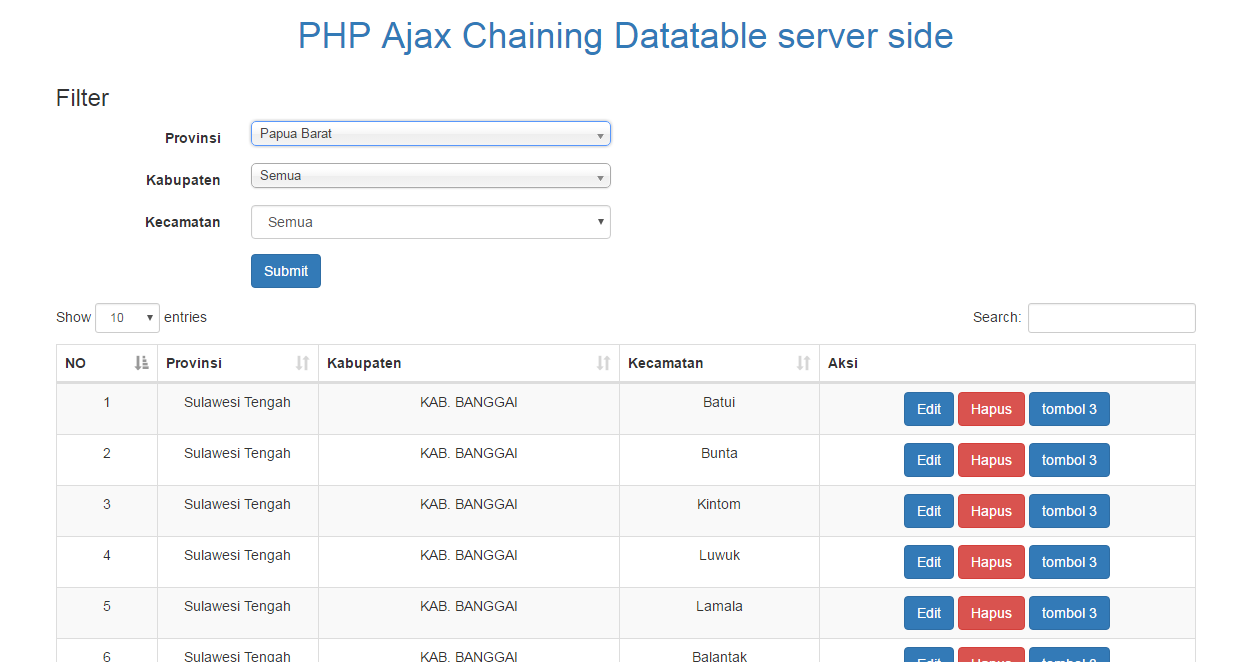 PHP Ajax Chaining Datatable server side Processing