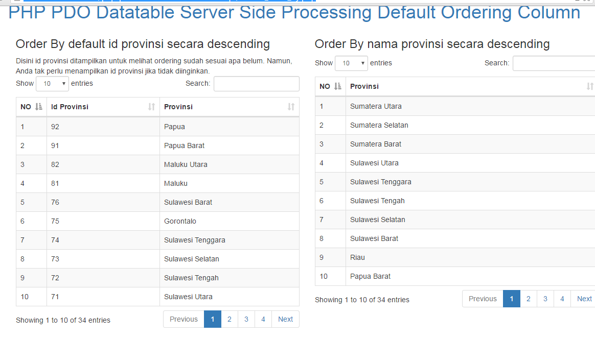 PHP Datatable ordering column server side